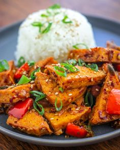 Tofu is fried to chewy perfection, then stir-fried with a garlicky sesame and red pepper sauce. Spicy, savory and satisfying! Stir Fry Recipes, Spicy Recipes, Asian Recipes, Vegetarian Recipes, Healthy Recipes, Ethnic Recipes, Healthy Food, Red Pepper Recipes, Red Pepper Paste