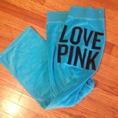 LOVE PINK blue velour track pants Great condition & super cute! PINK Victoria's Secret Pants Track Pants & Joggers