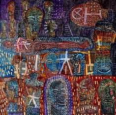 "I Wayan Gede Budayana ""Not a hero"" (Bukan pahlawan) Acrylic on canvas 100 x 100 cm 2017"