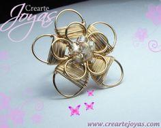 anillo flor con cristales anillo flor alambre de goldfilled,cristales alambrismo