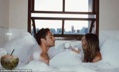 'Lover man oh where have you been?' It looked as though Jessica Serfaty and Ed Westwick were still in the throes of love as she shared a saucy snap of them enjoying a bath on Monday Bath Couple, Love Couple, Couple Goals, Relationship Goals Pictures, Couple Relationship, Love Is In The Air, This Is Love, Jessica Serfaty, Haha