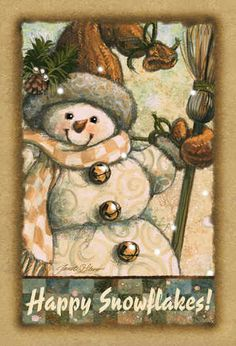 "*SNOWMAN ~ Happy Snowflakes flag""  by Janet Stever*"