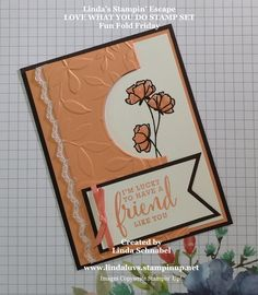 Friday's Fun Fold with Instructions . Hello Stampin' Friends ~ How are you doing this fabulous Friday? I'm actually doing quite well … I'm back at work but only during the morning hours when the store is closed,… Fun Fold Cards, Folded Cards, Cute Cards, Diy Birthday, Handmade Birthday Cards, Birthday Gifts, Birthday Cards For Friends, Friendship Cards, Stamping Up Cards