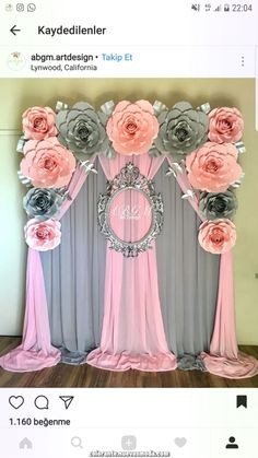A full view of this lovely flower backdrop baby elephant theme🌸💖 babyshower paperflowers babyshowerideas itsagirl babygirl… Decoration Evenementielle, Backdrop Decorations, Birthday Decorations, Wedding Decorations, Backdrop Ideas, House Decorations, Paper Decorations, Wedding Centerpieces, Baby Shower Parties