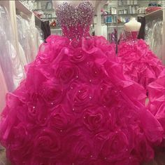 Fuchsia Ball Gown Quinceanera Dresses For 15year Organza Prom Party Gowns Custom