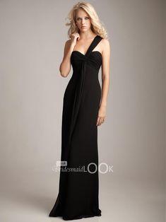 black long evening gowns | sweetheart black chiffon long evening dress 2