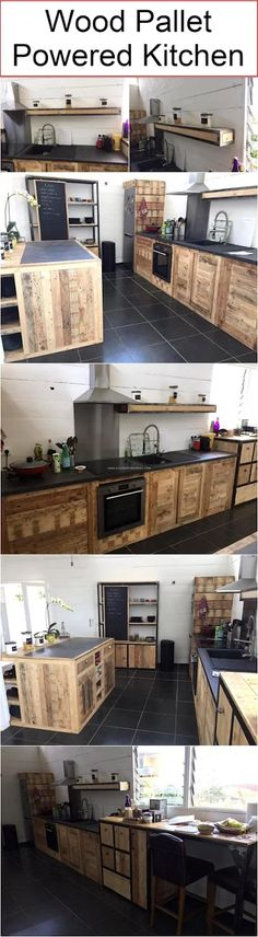 Just a few moments back we were talking about the real power and potential of the shipping wood pallets, and here we came up with a truly new approach. Like we are presenting here a wood pallet powered kitchen, sounds like a really great idea right? Pallet Designs, Pallet Ideas, Pallet Furniture, Repurposed Furniture, Furniture Ideas, Wood Pallets, Pallet Wood, Home Projects, Pallet Projects