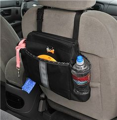 Car Organizer for Dog Gear - what a great idea to hold items like your leash and collar, poop bags, water, toys and treats!