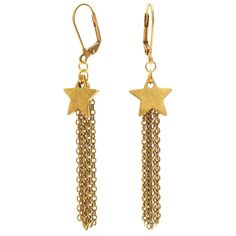 Take off on a shooting star with these swinging earrings featuring a flat tag star charm by Nunn Design.