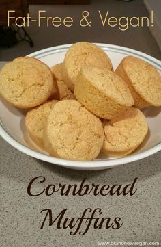 A moist, fat-free, vegan cornbread, perfect for dunking in a hot bowl of soup on a cold, blustery day. It's corntastic! Vegan Foods, Vegan Dishes, Vegan Vegetarian, Vegan Recipes, Cooking Recipes, Fat Free Recipes, Vegan Cornbread, Cornbread Muffins, Vegan