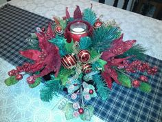 Floral christmas centerpiece for table