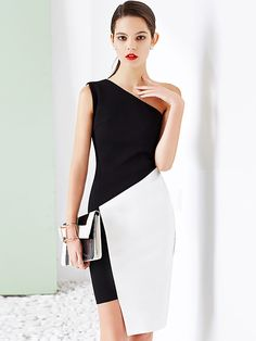 Black and White Color Block One Shoulder Asymmetrical Dress White Outfits, Classy Outfits, Dress Outfits, Fashion Dresses, Dress Clothes, Bodycon Fashion, Trendy Outfits, White Fashion, Look Fashion