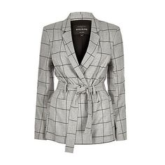 River Island Grey check belted jacket ($70) ❤ liked on Polyvore featuring outerwear, jackets, belted / wrap coats, coats / jackets, grey, women, woven jacket, long sleeve jacket, river island and fitted jacket