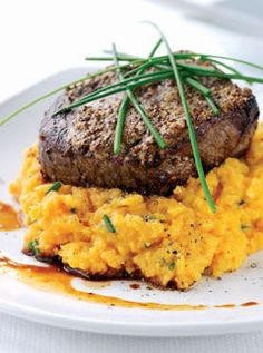 Peppered beef with sweet potato mash