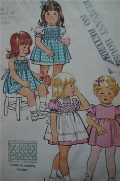 PATTERN: Simplicity 6180. There is a darling apron style smocked pinafore. The transfer for the smocking is in the envelope. ENVELOPE CONDITION: fair with shelf wear, tears at the flap, writing on the front and some age discoloration.   eBay!