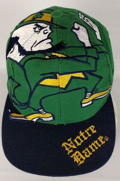 3d7df4333f5 Vintage Notre Dame Hat The Game Fighting Irish Big Logo Snapback Cap RARE