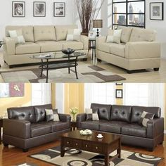 Poundex Furniture 2 pcs Drak Brown/Khaki Bonded Leather Upholstered Tufted Loveseat Sofa Set with Track Arms