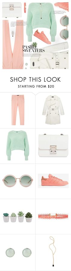 """Trench Coat Look"" by jiabao-krohn on Polyvore featuring Topshop, Design Inverso, 3.1 Phillip Lim, adidas, Express, Jacquie Aiche, philosophy, pastel, trenchcoat and pastelsweaters"
