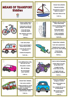 English riddles of the means of transport and dominoes for third cycle of primary English Games, English Activities, English Class, English Lessons, Teaching English, Learn English, Preschool Activities, English Riddles, Transportation Worksheet