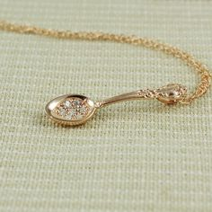 Pink Gold Spoon Necklace | tooriginal - Jewelry on ArtFire  Spoon Theory Necklace - Ordered. $48