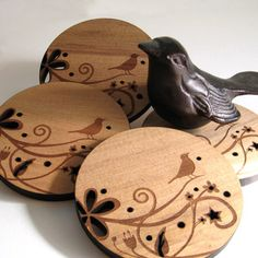 peppersprouts : Song Bird Coasters : modern home decor & accessories Wood Burning Crafts, Wood Burning Patterns, Wood Burning Art, Wood Crafts, Wood Canvas, Wood Art, Wooden Coasters, Kids Wood, Wood Creations