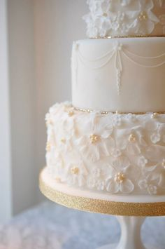 Elegant Swag & Pearls Wedding Cake