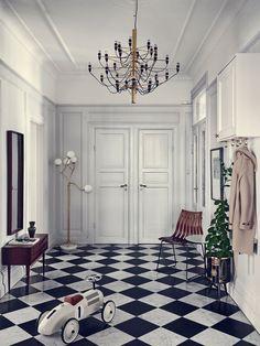 hall-marmorgolv-rutigt-golv-lampor-italienskt-inspiration | ELLE Decoration