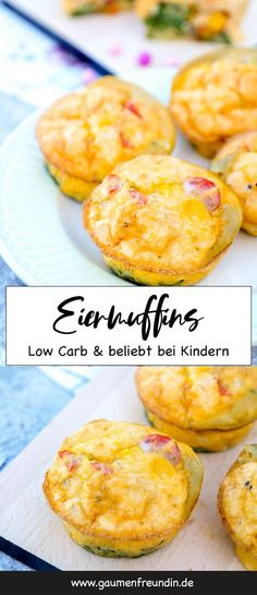 Low Carb Eiermuffins mit Spinat, Tomaten, Parmesan und Mais – ein gesunder Snack… Low Carb egg muffins with spinach, tomatoes, parmesan and corn – a healthy snack for kids. The savory muffins taste warm and cold and are also great… Continue reading → Brunch Recipes, Baby Food Recipes, Low Carb Recipes, Breakfast Recipes, Healthy Recipes, Juice Recipes, Egg Recipes, Pasta Recipes, Appetizer Recipes