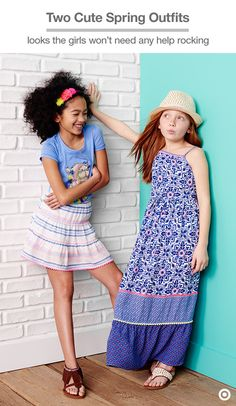Get the girls set with their spring style—these two boho-inspired looks are simple and fun to outfit. With the maxi dress, add flat sandals and a fedora for casual daytime vibes. For the short skirt, pair with a fave graphic tee and fringe sandals. So easy and so chic.