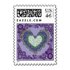 Pretty Purple Green Hearts and Circles Pattern Postage Stamps