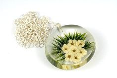 Flower and Moss Resin Necklace Resin Jewellery Resin and
