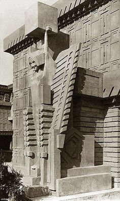 exceptionally rare documented museum-quality c. 1914 exterior chicago midway gardens single-sided strongly geometric perforated cast concrete frieze panel - Frank Lloyd Wright - Museum Quality Artifacts - Products Organic Architecture, Garden Architecture, Amazing Architecture, Architecture Details, Architecture Today, Business Architecture, Concrete Architecture, Futuristic Architecture, Interior Architecture