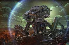 Science-Fiction Schlacht Science-Fiction Mech Krieg Battlefield Machine Weapon Shield Wallpaper