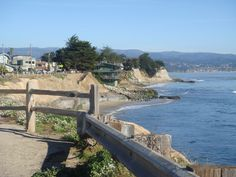 "Pleasure Point, Santa Cruz, CA - Green house belongs to Jack O'Neill - Eddie and I bought our first ""shack"" house one two blocks from here - our lab ran that beach every night."