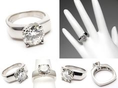 2ct round cut solitaire ring thin wedding band | Carat Genuine Diamond Solitaire Engagement Ring Solid Platinum