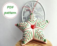 Felt sewing patterns and tutorials for beginners by FeltPatternPDF Felt Christmas Decorations, Felt Christmas Ornaments, Christmas Star, Handmade Christmas, Christmas Crafts, Christmas Bells, Christmas Stockings, Embroidered Christmas Ornaments, Christmas Stocking Pattern