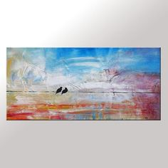 Oil Painting Love Birds Painting Canvas Art  Framed Painting Contemporary Art Abstract Art Impasto Texture Palette Knife Art Wedding Gift C