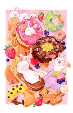 Shop for Noir Gallery Bunny Rabbits and Donuts Funny Unframed Art Print/Poster. Get free delivery On EVERYTHING* Overstock - Your Online Art Gallery Store! Watercolor Illustration, Watercolor Art, Book Illustration, Framed Art, Framed Prints, Art Prints, Texture Art, Online Art Gallery, Fine Art Paper