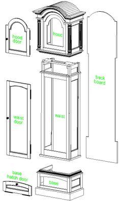 grandfather clock - case main components