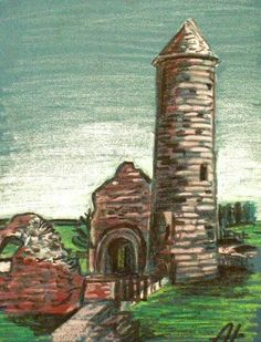 The Irish Round Tower Round Tower, Oil Pastel Drawings, Irish Art, Original Art For Sale, Oil Pastels, Celtic, Ireland, How To Draw Hands, Paintings