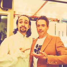Lin Manuel Miranda and Robert Downey Jr. Robert Downey Jr, Marvel Universe, Hamilton Lin Manuel Miranda, Lin Manuel Miranda Quotes, Theater, The Rocky Horror Picture Show, Bae, Hamilton Musical, Dc Memes