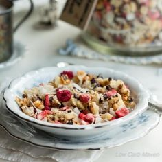 Macadamia nuts, coconut flakes, and cacao nibs collide with freeze dried fruit to create a great low carb breakfast sensation! Low Carb Donut, Low Carb Keto, Low Carb Recipes, Healthy Recipes, Whole30 Recipes, Crockpot Recipes, Vegetarian Recipes, Freeze Dried Raspberries, Freeze Dried Fruit