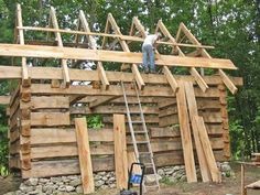 The log cabin roof goes on immediately after the walls are built. Here we discuss your different options including ways to frame and insulate, log cabin metal roofs, shake shingles and more. Building A Small Cabin, How To Build A Log Cabin, Tiny House Cabin, Log Cabin Homes, Log Cabins, Small Log Cabin Kits, Timber Cabin, Timber House, Cabana