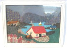 Wonderful Folk Art Textile Mosiac Fabric Artwork Countryside Scene w Tweeds. In my collection. Really hate the way the frame has been painted! Fabric Artwork, New Art, Countryside, Art For Kids, Tweed, Folk Art, Irish, Hate, Art Gallery