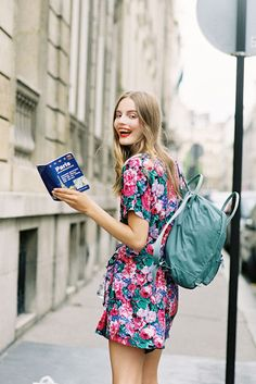 Tilda Lindstam Model Off Duty Street Style - floral dress and backpack