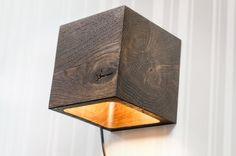 wall lamp Q#27 handmade. sconce. dark brown bog oak wooden lamp. wood lamp. wall light. minimalist lamp. interior design