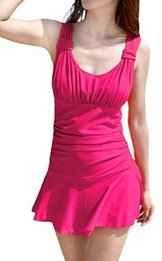 1a987b16f25410 Women's Halter Shaping Body One-Piece Swimsuit lovely Swimwear(Rose  Red,Large