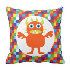 Funny Orange Monster Creature Bright Color Blocks Throw Pillow