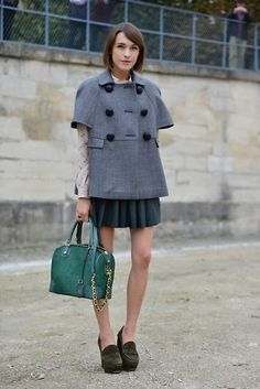 Red Valentino Cape, Hobbs Shirt, All Saints Leather Skirt, Alice + Olivia Bag, Kurt Geiger Loafers