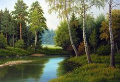 Old Barns, Love Painting, Pictures To Paint, Landscape Paintings, Scenery, Digital Art, The Incredibles, River, Drawings